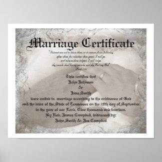 Certificat de mariage d'héritage affiches
