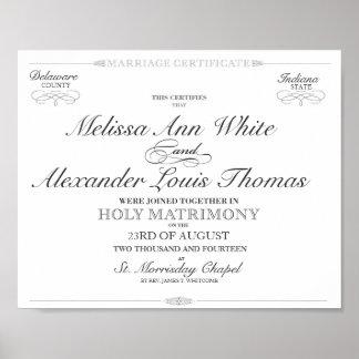 Certificat de mariage affiches