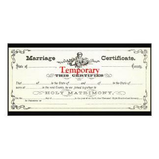 Certificat de mariage provisoire cartes de vœux avec photo