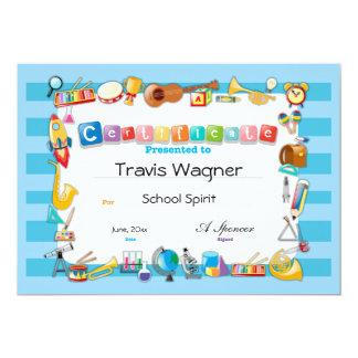 Certificat d'école carton d'invitation  12,7 cm x 17,78 cm