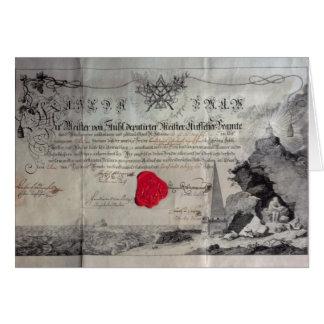 Certificat maçonnique, 1785 carte de vœux