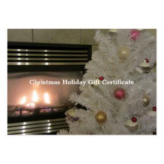 Certificat-prime d'arbre de cheminée et de Noël Carte De Visite Grand Format