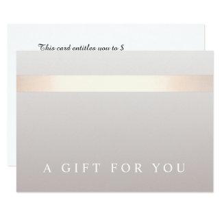 Certificat-prime moderne rayé d'or rose élégant carton d'invitation 8,89 cm x 12,70 cm