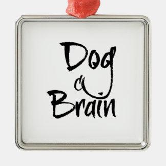 Cerveau de chien ornement carré argenté