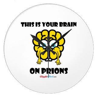 Cerveau sur des prions grande horloge ronde