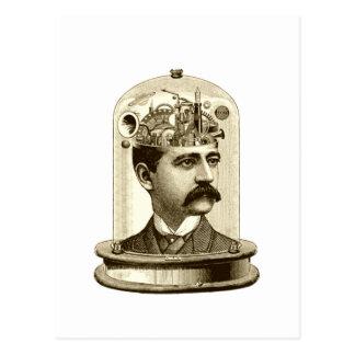 Cerveau vintage de rouages de steampunk, homme de carte postale