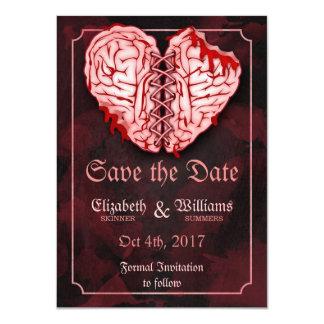 Cerveaux de zombi épousant des économies la carte carton d'invitation  11,43 cm x 15,87 cm