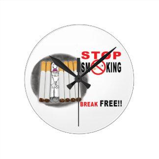 Cessez de fumer des rappels - pas plus aboute horloge ronde