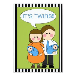 c'est des jumeaux ! faire-part (de garçons) carton d'invitation  12,7 cm x 17,78 cm