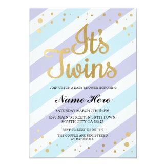 C'est or de baby shower de garçons de jumeaux et carton d'invitation  12,7 cm x 17,78 cm
