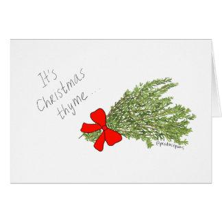 C'est thym de Noël ! Carte de calembour de produit