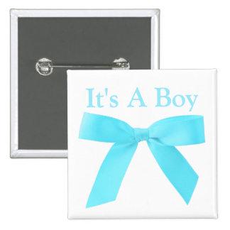 C'est un arc bleu de garçon sur le blanc badge carré 5 cm