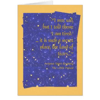 C'est un endroit si secret, la terre des larmes cartes de vœux