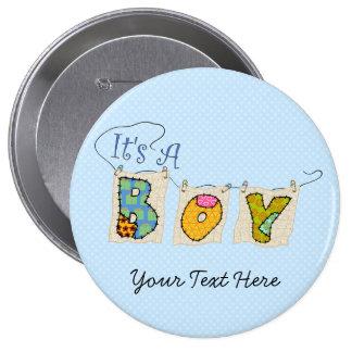C'est un garçon piqué - le faire-part de naissance badge rond 10 cm