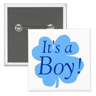 """""""C'est un garçon !"""" - (shamrock/trèfle) [2] Badge Carré 5 Cm"""