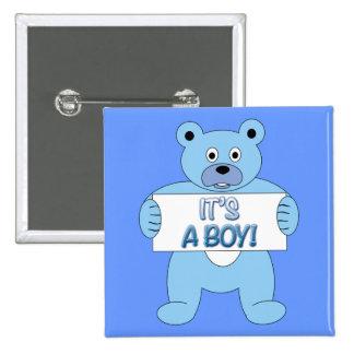 C'est un ours bleu de garçon badge avec épingle