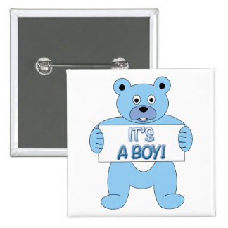 C'est un ours bleu de garçon badges avec agrafe