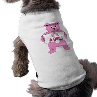 C'est un ours de rose de fille t-shirt pour chien