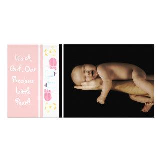 C'est une fille… Notre petite perle précieuse Cartes Avec Photo