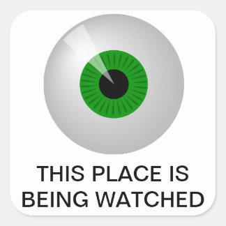 Cet endroit est observé sticker carré