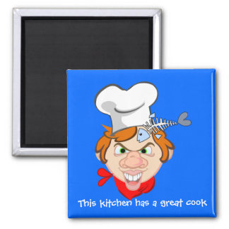 Cette cuisine a un grand cuisinier magnet carré