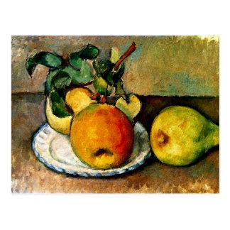 Cezanne - la vie toujours avec des pommes et des cartes postales