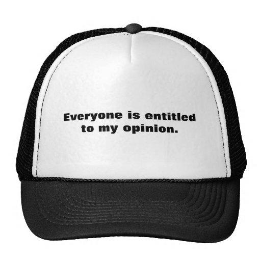 Chacun a droit à mon avis casquettes de camionneur