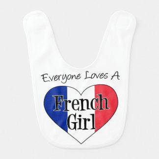 Chacun aime un bavoir français de bébé de fille