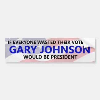 Chacun doit gaspiller leur vote sur Gary Johnson Autocollant De Voiture