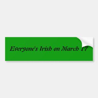 Chacun le 17 mars adhésif pour pare-chocs irlandai autocollant de voiture