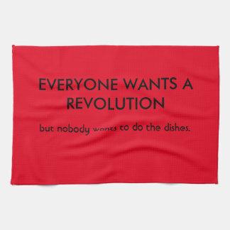 Chacun veut la révolution mais… linge de cuisine
