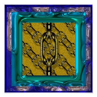 chaînes brillantes avec du charme (i) d'or poster