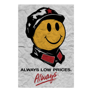 Chairman Mao Smiley Face - China:Always Low Prices Print