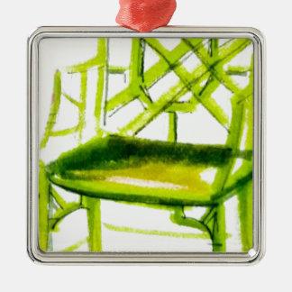 chaise de chinoiserie pour la carte d'endroit ornement carré argenté