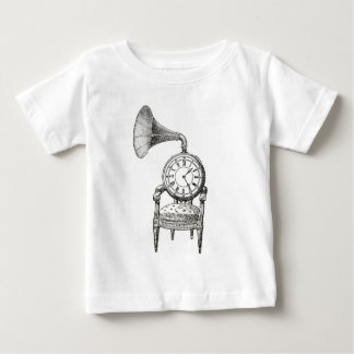 Chaise vintage de collage de Steampunk, horloge, T-shirt