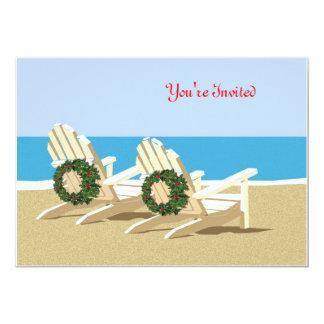 Chaises et guirlandes de plage invitations