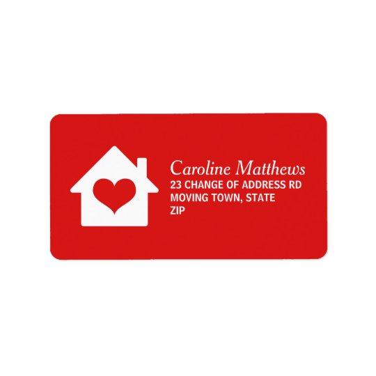 Chambre avec le coeur sur l'arrière - plan rouge étiquettes d'adresse