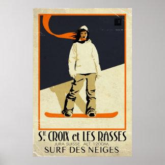 Chambre. Croix et Les Rasses - effet vintage Posters