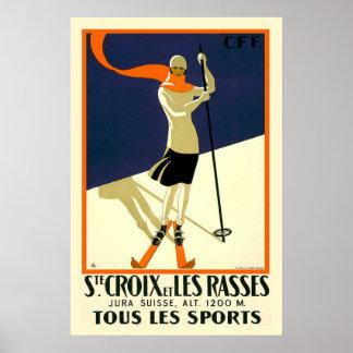 """""""Chambre Croix et voyage vintage suisse de Les Ras Posters"""