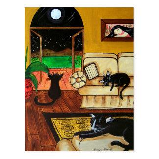 Chambre de pleine lune de chats carte postale