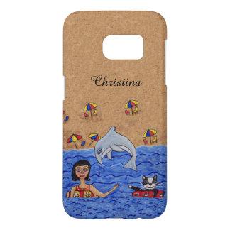 Chambres à air de Madame Cat dans l'océan sautant Coque Samsung Galaxy S7