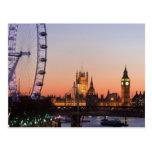 Chambres du Parlement et de l'oeil de Londres Cartes Postales