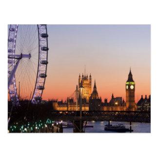 Chambres du Parlement et de l'oeil de Londres Carte Postale