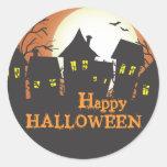 Chambres hantées Halloween heureux Adhésifs Ronds