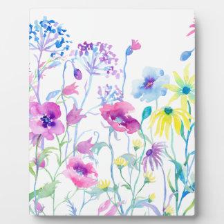 Champ d'aquarelle de pastel, pré de fleur sauvage plaque d'affichage