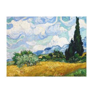 Champ de blé avec la toile de cyprès toiles