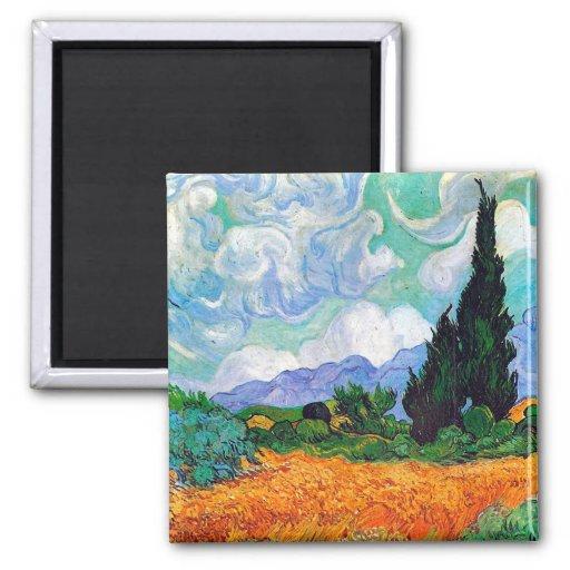 Champ de blé de Van Gogh avec les cyprès (F615) Magnets