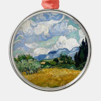 Champ de blé de Vincent van Gogh avec l'art de Ornement Rond Argenté
