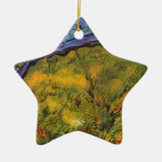 Champ de blé de Vincent van Gogh avec Soleil Ornement Étoile En Céramique