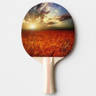 Champ de blé et de coucher du soleil raquette de ping pong
